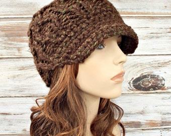 Knit Hat Womens Hat Newsboy Hat - Amsterdam Beanie with Visor in Mesquite Brown Newsboy Hat - Brown Hat Brown Beanie Womens Accessories