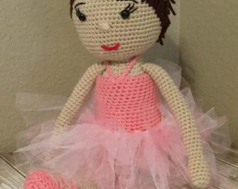 "Ready to SHIP!!   18"" Handmade Crocheted Amigurumi Ballerina Doll, Brown Hair Doll"