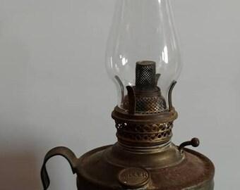 Vintage Miller The Home Lamp Oil kerosene Lamp with Wick - Brass? Glass shade