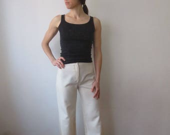 Vintage '70s Jones New York Ivory Polyester High Waisted, Super Wide Leg Palazzo Pants w/ Thin Waistband & Pocket Detail, 28 x 33