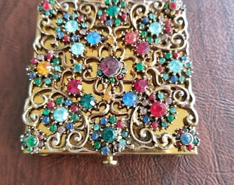 Vintage Jeweled Powder/Mirror Compact. Gold-Toned Compact With Lattice Work Design and Colorful Jeweled Flowers