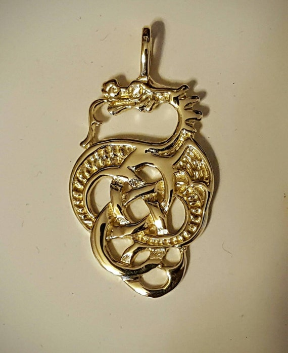 Gold celtic knotwork dragon pendant made to order aloadofball Gallery