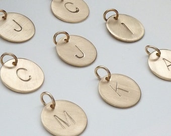 Initial Charms, Gold Initial Charm, Hand stamped jewelry by m. frances