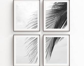 Print Set, Tropical Print, Palm Leaf Print, Wall Art Print Sets, Tropical Decor, Set of Four, Wall Art Print Sets, Nature Print, Wall Decor