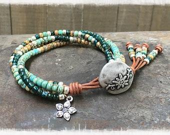 Beaded Wrap Bracelet/ Boho Leather Wrap Bracelet/ Seed Bead Wrap Bracelet/ Gift For Her/ Bohemian Leather Wrap Bracelet/ Seed Bead Bracelet.