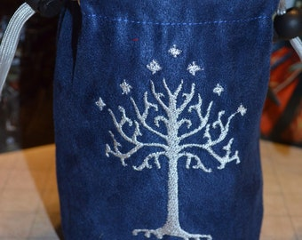 Lord of the Rings tree of Gondor embroidered suede dice bag