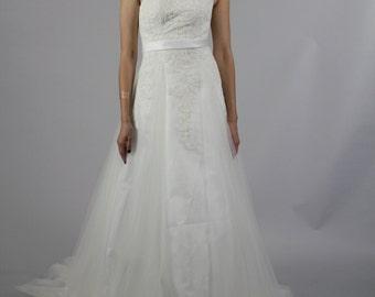 Simple but Elegant Formal A Line Scoop Neckline , Sheer Lace Beaded Back Long Lace Wedding Dress