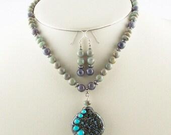 Organic Designed Lampwork Focal Bead,Genuine Stone Beaded Necklace Set-
