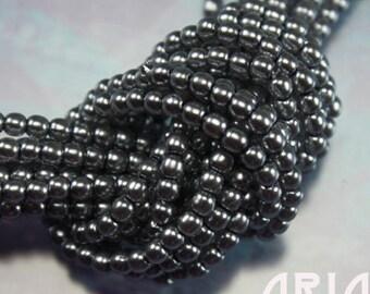 LIGHT STEEL: 2mm Czech Glass Pearl Beads (150 beads per strand)