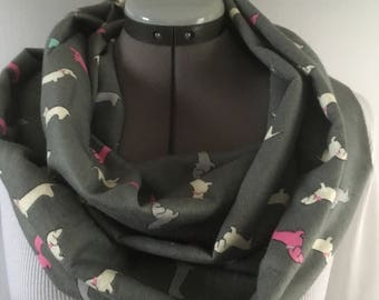 Multi- Color Dachshund Infinity Scarf
