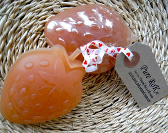 Strawberry shaped soap, Novelty soap, Fun soap, Glycerin soap, Red soap, Party favour soap, Handmade soap, Gift soap for her, Bar of soap,
