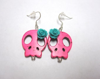 Sugar Skull Earrings Day of the Dead Jewelry Hot Pink Blue Rose