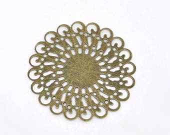 Set of 2 connectors round filigree openwork brass 37mm