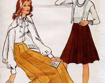 FREE US SHIP Vogue 8728 Vintage Retro 1970s 70s Gored Maxi Knee Length Skirt Uncut Waist 25 Sewing Pattern