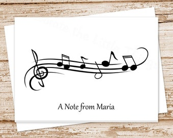 music note cards . notecards . personalized stationery . folded stationary . musician music teacher gift . set of 8