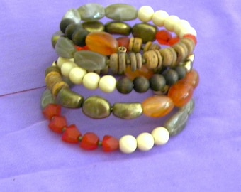 Coiled Wire Beaded Braclet with Variety of Beads