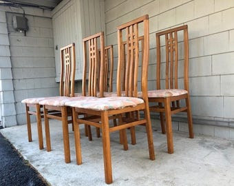 Local Pickup. Set of (6) Midcentury Italian Teak Dining Chairs