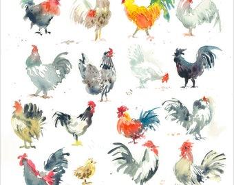 Mini Farm Chickens Artwork, original watercolor art, chicken painting, chicken wall decor
