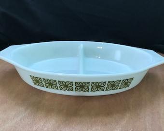 Vintage Verde Pyrex Divided Dish