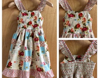 Boho Ephemera Cotton Sundress, child size 7