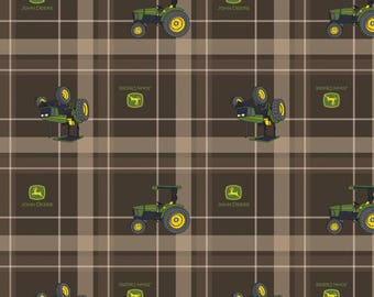 John Deere Fabric Brown Tractor Plaid Fabric From Springs Creative 100% Cotton