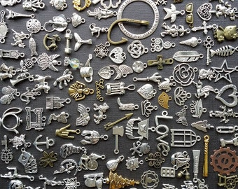 50 100 or 200 bulk charm Lot NO DOUBLES bulk charms mixed bulk charms and pendants charm assortment DIY charm DiY jewelry collegedreaminkid