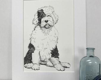 Old English Sheepdog. Gift. Print. Children's room decor.