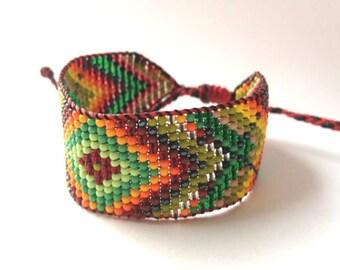 Huichol Native American Inspired Beaded Bracelet with Red Thread  - Original Design 23