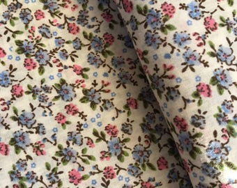 Blue Ditsy Floral Polycotton Fabric