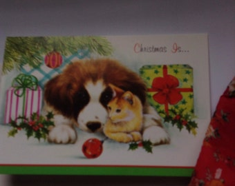 Vintage Christmas card unused+env Christmas is...with dog and kitty