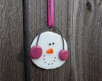 Snowman ornament pink earmuffs