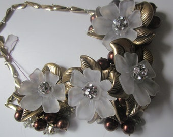 Vintage Coldwater Creek Chocolate Bead & Multi Flower Statement Necklace with Rhinestones