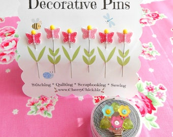 Decorative Sewing Pins - Butterfly Sewing Pin - Gift for Quilters - Sewing Pins - Fancy Pins - Quilting Pins -  Butterflies - Cherry Chick