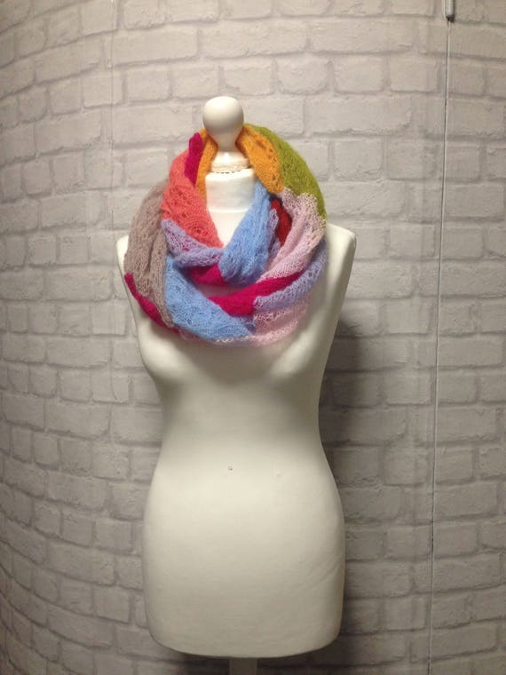 Bright Colored Scarf Infinity Scarf Lightweight Scarf Knit
