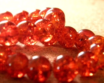 100 4 mm glass beads - Crackle glass - glass bead cracked - 4 mm - orange - 5 G275