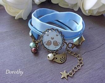 "Liberty bracelet ""Cheep cheep"" bird blue cabochon"