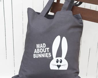 Mad about bunnies - tote bag- Gifts for rabbit lovers - Cotton shoulder shopper