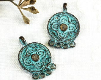 25%OFF Mykonos beads Earring Hoop, Mykonos Casting, Green Patina on copper, Earring connectors, four Loop Gypsy Boho Connector Link (2pcs)