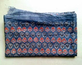FABRIC/cotton/AJRAKH print/ 114 x 67 cm/Made in India/Hand block print/Gujarat/Indigo/Free Shipment