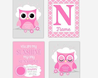 Baby Girl Nursery Artwork Pink Gray Owls You Are My Sunshine Personalized Name Baby Nursery Decor Art Prints Baby Room CHOOSE COLORS
