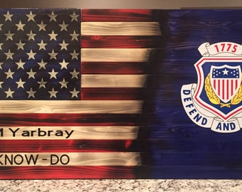 Personalized Military Support wooden American Flags