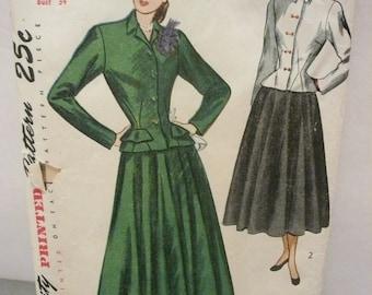 Antique Simplicity Pattern 2379 Two Piece Suit  Misses Size 16