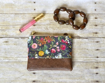 Pink floral zipper pouch - Zipper pouch - small pouch - pink floral pouch -  vegan leather pouch - gifts for her - makeup bag - small wallet