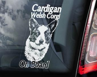 Cardigan Welsh Corgi on Board - Car Window Sticker - Cardi CWC Dog Sign Art Decal - V01