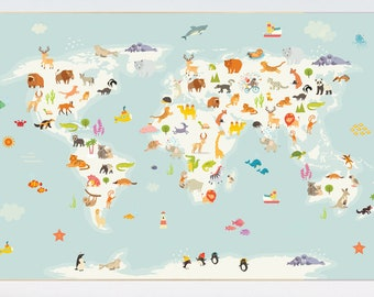 Travel theme nursery etsy nursery world map animal world map animal map nursery animals map animal gumiabroncs Image collections