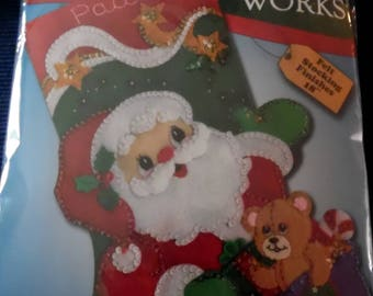 Santa Christmas Stocking Kit NIP Ready for You to Make 18 Inch ECS SVFT