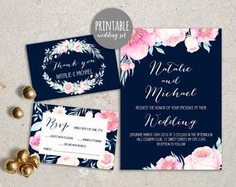Floral Wedding Invitation Navy Wedding Invitation Printable Wedding Invitation Set Peony Spring Wedding Invitation Summer Wedding Pink navy