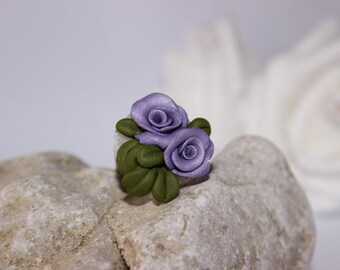 Purple flower rose, with leaves , ring , polymer clay jewelry