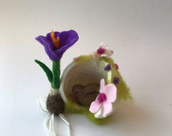 Spring in a Buddha nut.Bunny .  Felted.Waldorf.Felted flowers.