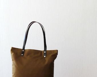 AMELIA, Cinnamon Brown, Waxed Canvas Tote Bag with leather handles, Tote Bag Purse, Handbag, Shoulder Bag
